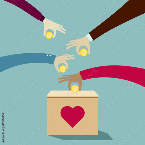 Hands putting coins into donation box: Donate money charity concept Fototapeta