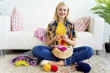 Girl Knitting At Home