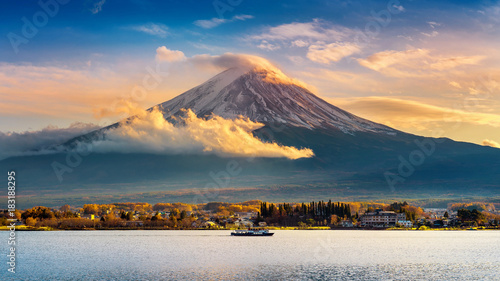 Garden Poster Japan Fuji mountain and Kawaguchiko lake at sunset, Autumn seasons Fuji mountain at yamanachi in Japan.