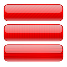 Red Glass Buttons With Stripes