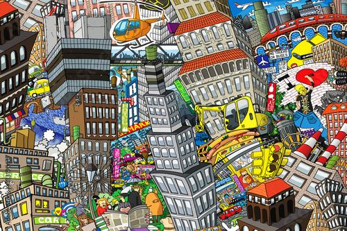 Miasto, ilustracja dużego kolażu, z domami, samochodami i ludźmi