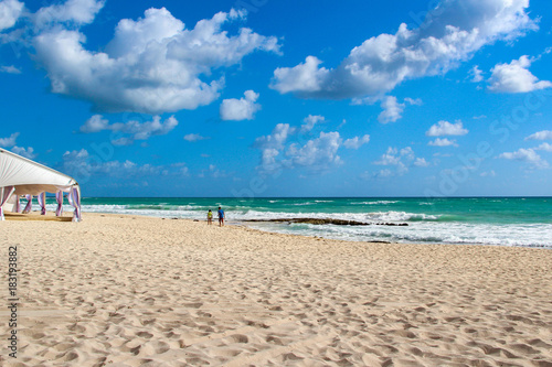 Mexico. Sandy beach and rocks of the Mayan Riviera Canvas Print