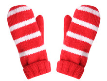 Red Christmas Gloves Isolated....