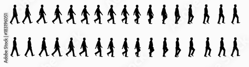 Obraz business man walk cycle sprite sheet, Animation frames, silhouette, Loop Animation - fototapety do salonu