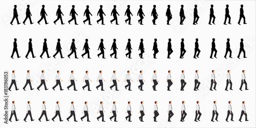 Fototapeta business man walk cycle sprite sheet, Animation frames, silhouette, Loop animation obraz na płótnie