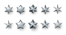 Silver 3d Stars Isolated On White.