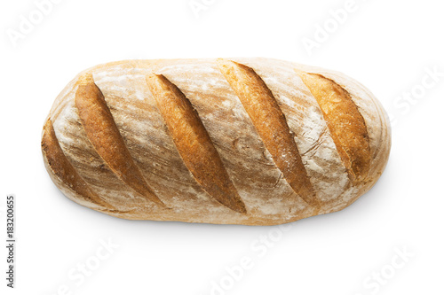Fotografie, Obraz  Baguette loaf with checkered crust isolated