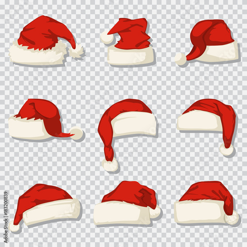 Santa Claus Hat Set Isolated On A Transparent Background Vector Cartoon Icons Of Christmas Decorative