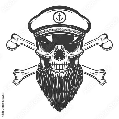 Photo  bearded sea captain skull with crossbones