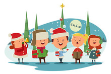 Christmas Caroling. Cute Child...