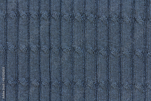 Fotografia, Obraz  dark blue background with cable pattern, texture of knitted fabric