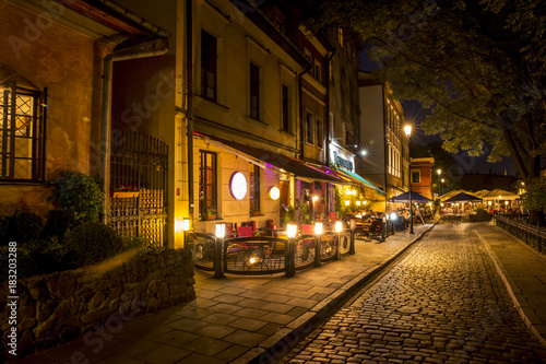 Fototapeta Jewish Quarter of the Kazimierz district in Krakow at night, Poland obraz