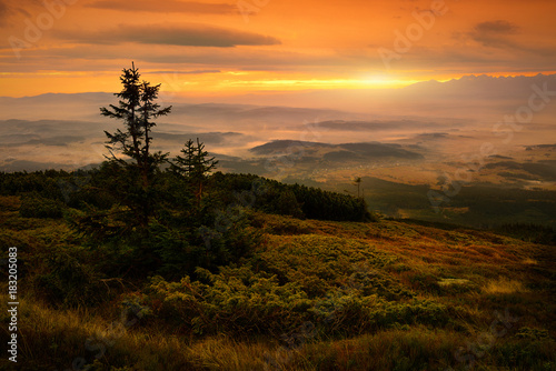 Poster Marron chocolat Beautiful view of sunrise at Babia mountain. Poland