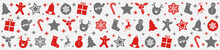 Panoramic Christmas Banner With Silver And Red Icons. Vector.