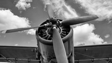 Old Plane In Black And White C...