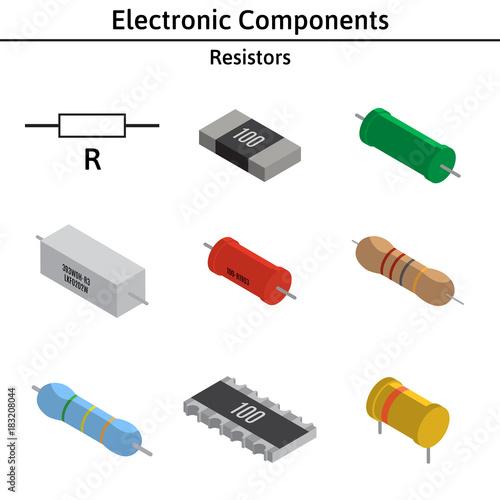 Photo Vector set of izometric electronic components