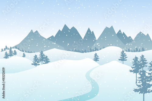 Foto op Canvas Lichtblauw Flat winter vector landscape with silhouettes of trees, hills and mountains with falling snow.