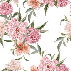 FototapetaFloral seamless pattern with peonies and lily