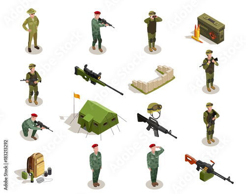 Army Military Isometric Elements Set Fototapeta