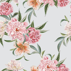 Fototapeta Peonie Floral seamless pattern with peonies and lily