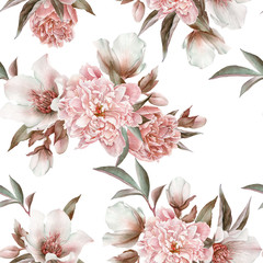 Panel Szklany Vintage Floral seamless pattern with peonies and hellebore