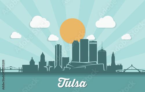 Printed kitchen splashbacks Light blue Tulsa skyline - Tulsa