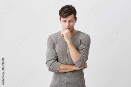 Horizontal portrait of confident serious attractive