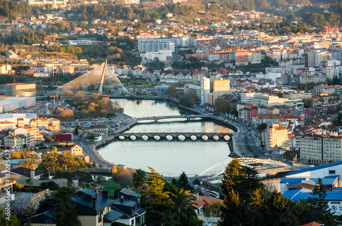 Zoomed view of Lerez river in the city of Pontevedra, in Galicia Spain from an elevated viewpoint.
