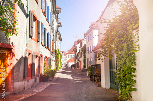 Old tranquil street of Basel with ancient houses