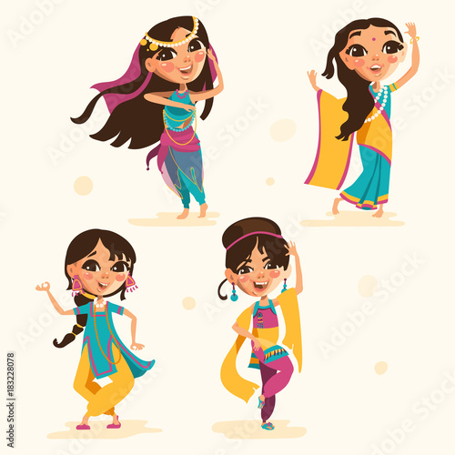 Cute Indian Kids Girls In Traditional Indian Clothes Set