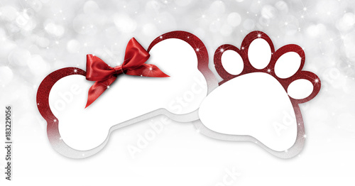 Pets Store Gift Card With Bone And Paw Imprint Shape Red Ribbon Bow On Blurred Christmas