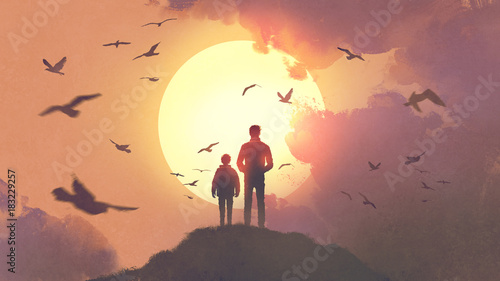 Spoed Foto op Canvas Zalm silhouette of father and son standing on the mountain looking at the sun rising in the sky, digital art style, illustration painting