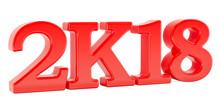 Happy New Year 2k18 Concept, 3D Rendering