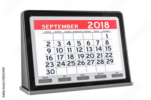 September 2018 Digital Calendar 3d Rendering Kaufen Sie Diese