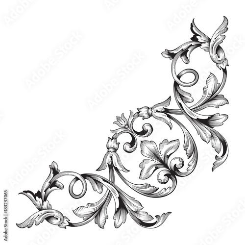 Classical baroque ornament vector Canvas Print