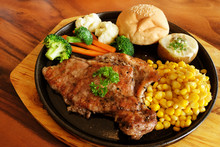 Meat Steak With Many Side Dish...