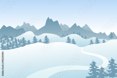 Fotobehang Lichtblauw Flat winter vector landscape with silhouettes of trees, hills and mountains.