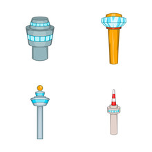 Airport Tower Icon Set, Cartoo...
