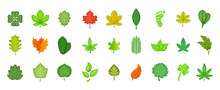 Leaf Icon Set, Cartoon Style