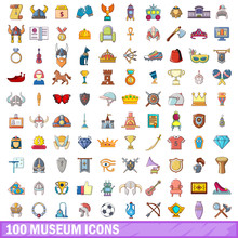 100 Museum Icons Set, Cartoon ...