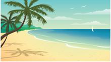 Vector Illustration With Beach