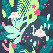 Tropical Flamingo Pattern. Cut...