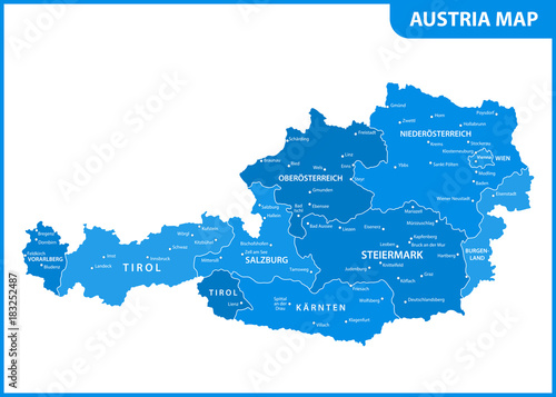 The detailed map of the Austria with regions or states and ...