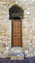 Heavy Studded Wooden Door To A...