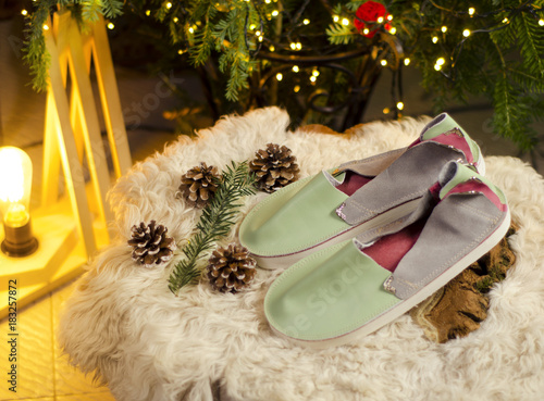 Espadrilles top view in Christmas surrounding  #183257872
