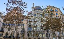 BARCELONA - November 28, 2017:Casa Batllo Facade On November 28, 2017 In Barcelona (Spain). Casa Batllo Is A Building Restored By Antoni Gaudi