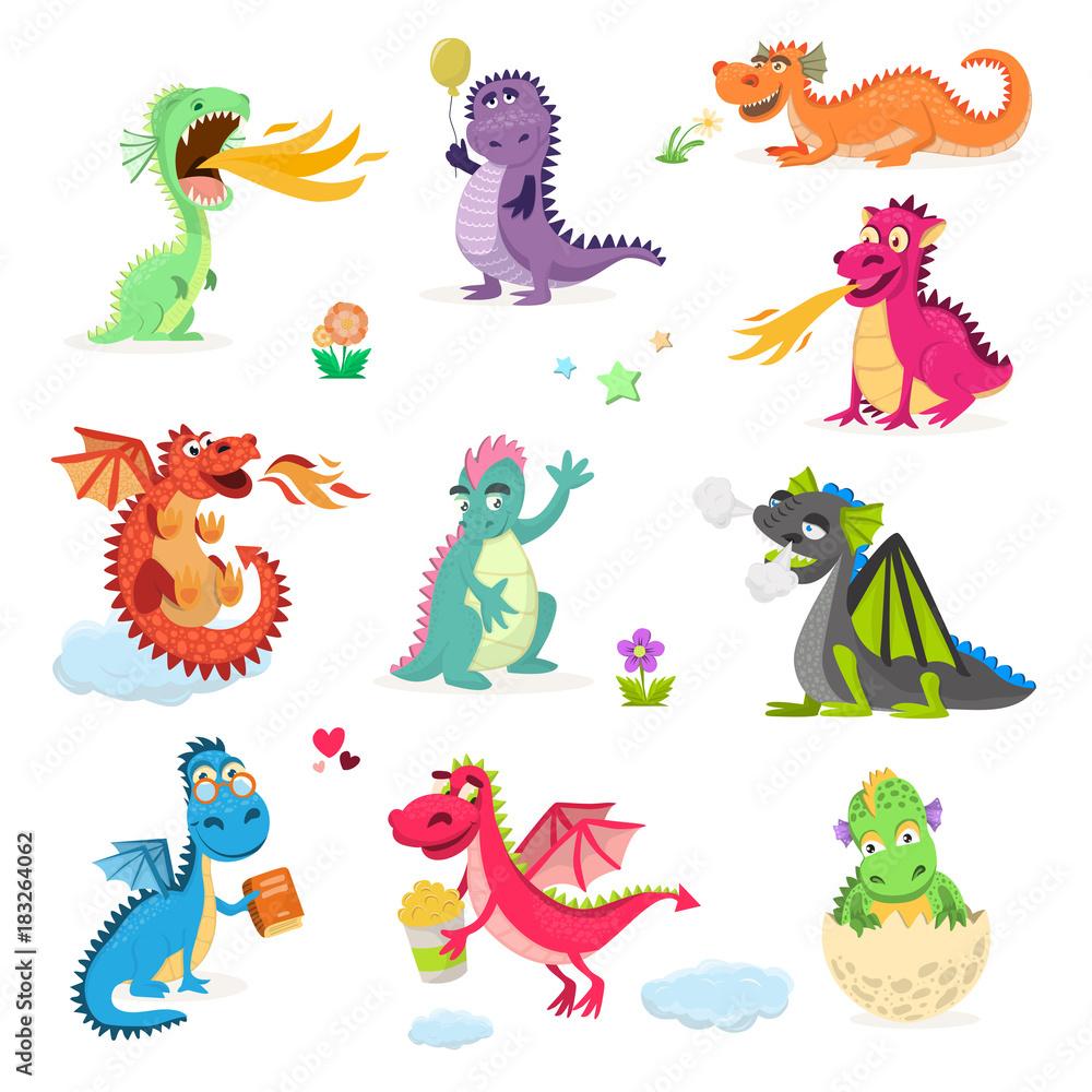 Smok kreskówki dragonfly dinosaura charakteru dziecka wektorowy dinosaur dla dzieci bajecznej Dino ilustraci odizolowywającej na białym tle <span>plik: #183264062   autor: Vectorwonderland</span>