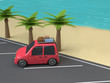 red car-family car beach-sea nature travel concept 3d rendering cartoon style