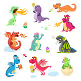Fototapeta Dino - Dragon cartoon vector cute dragonfly dino character baby dinosaur for kids fairytale dino illustration isolated on white background