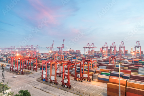 Canvas Prints Berlin container terminal in sunset